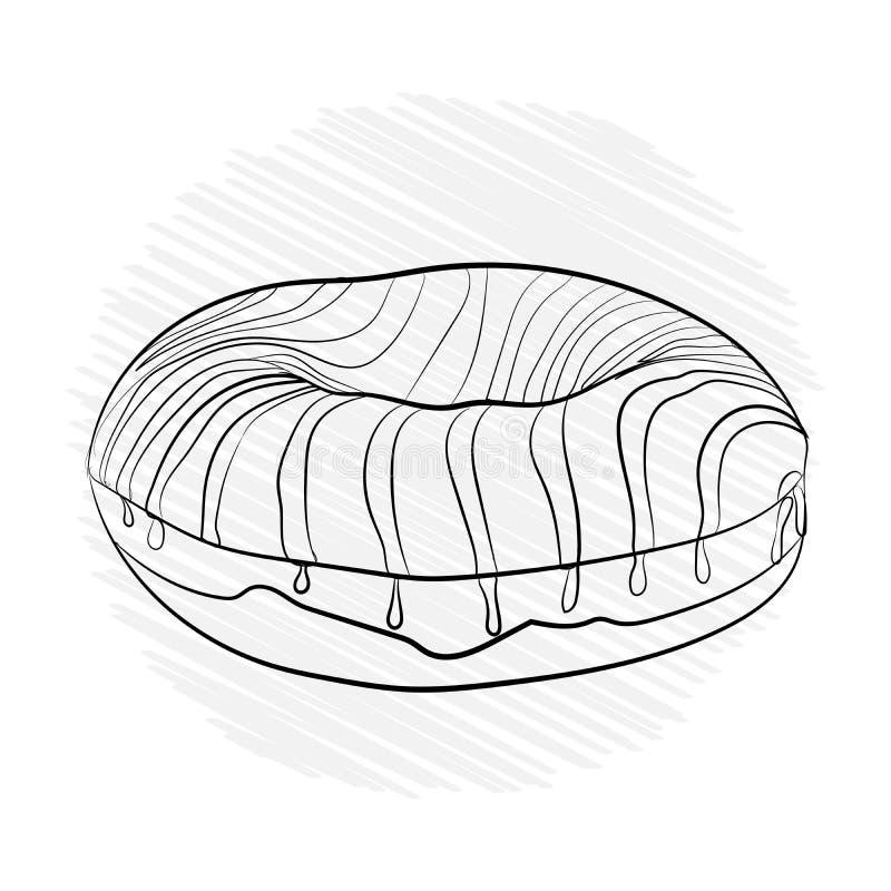 多福饼镶边甜点 传染媒介例证黑色 免版税库存图片