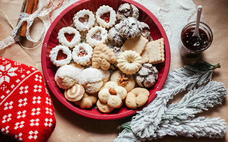 多种圣诞节曲奇饼 免版税库存图片