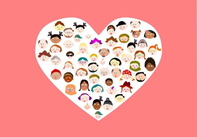 多种族动画片面孔 皇族释放例证