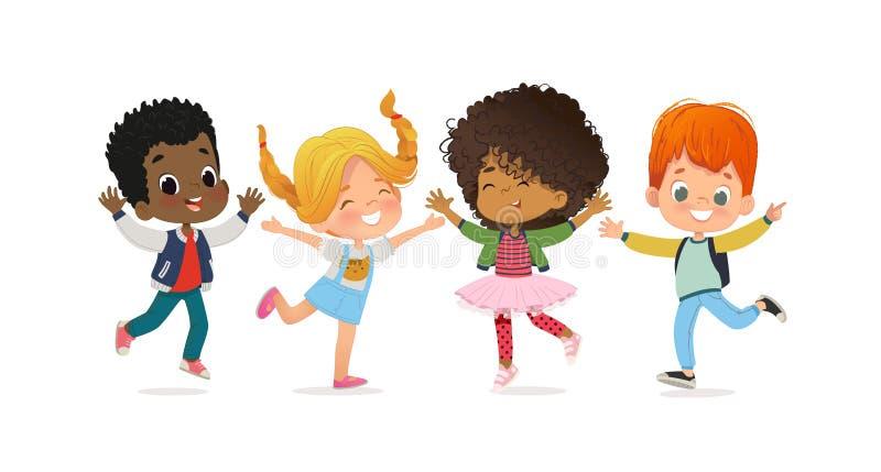 多种族学校孩子 男孩和女孩愉快地一起使用跳 孩子使用在草 概念是乐趣 库存例证