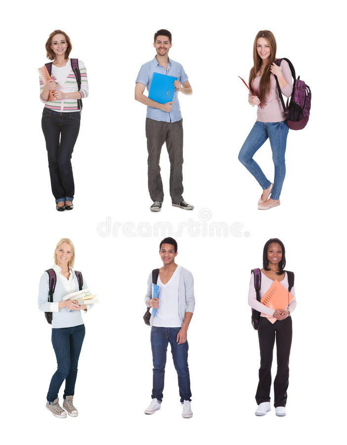 多种族小组学生 免版税库存照片