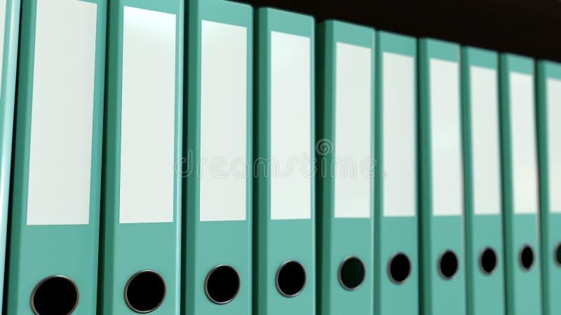 多种蓝色办公室黏合剂 3d翻译 皇族释放例证