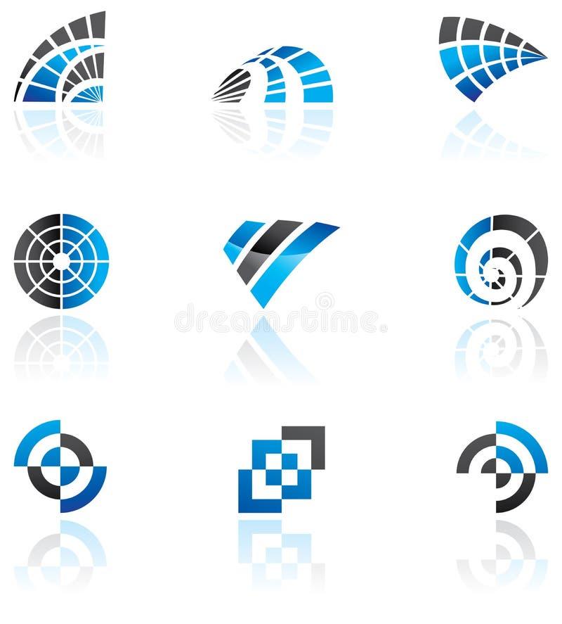 多种蓝色徽标 向量例证