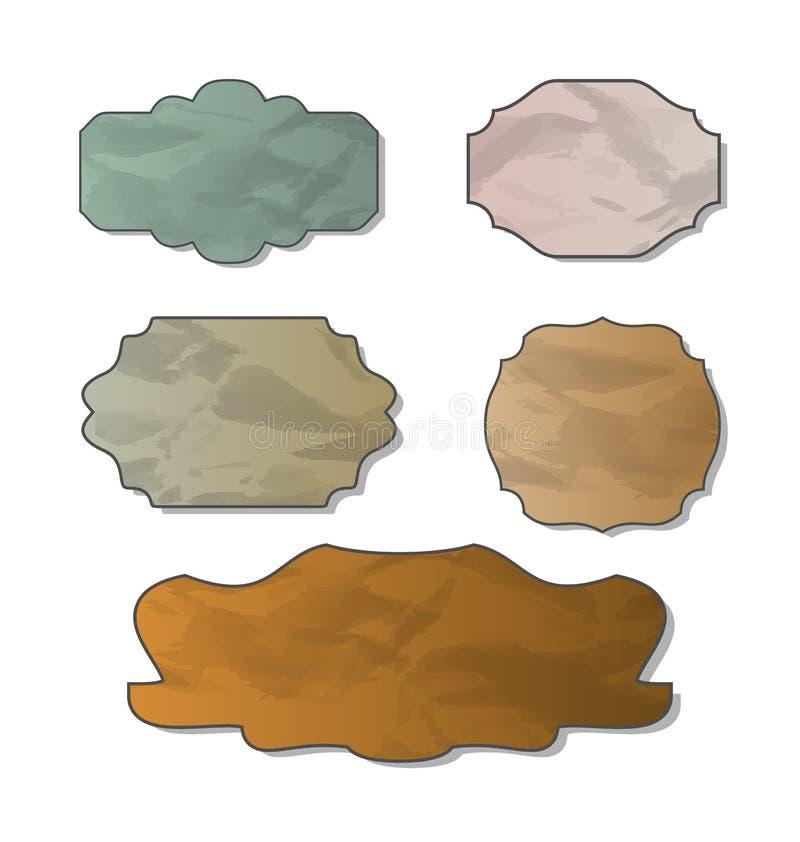 多种被弄皱的纸的收集 库存例证