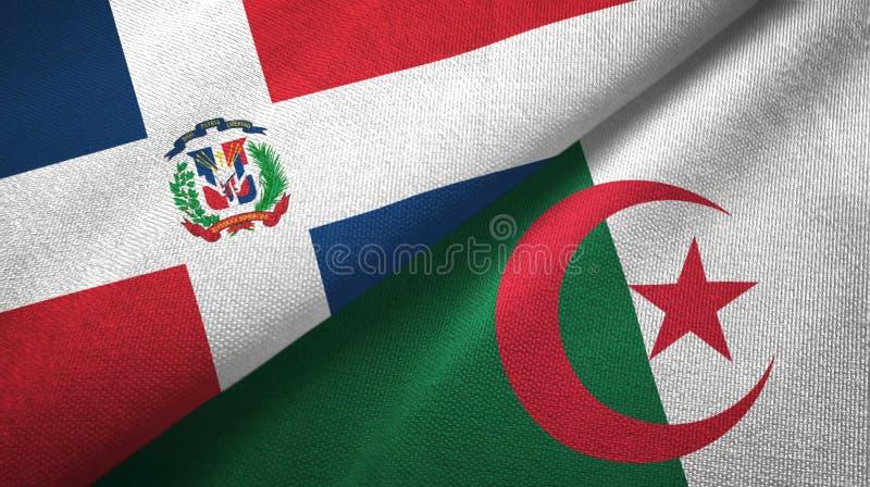 多米尼加共和国和阿尔及利亚两旗子纺织品布料,织品纹理 向量例证