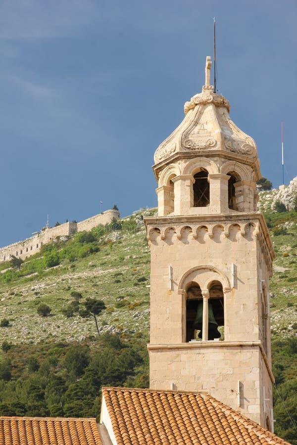 多米尼加共和国的修道院钟楼 杜布罗夫尼克市 克罗地亚 免版税库存照片
