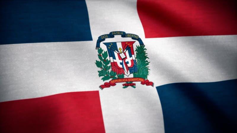 多米尼加共和国的标志共和国 挥动在风的多米尼加共和国的旗子 免版税库存图片
