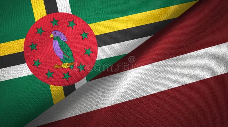 多米尼加和拉脱维亚两旗子纺织品布料,织品纹理 库存例证