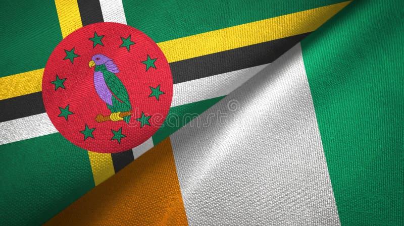 多米尼加和科特迪瓦象牙海岸两旗子织物纹理 向量例证