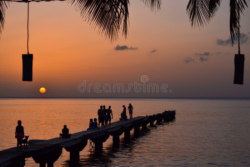多米尼加海岛日落 库存图片