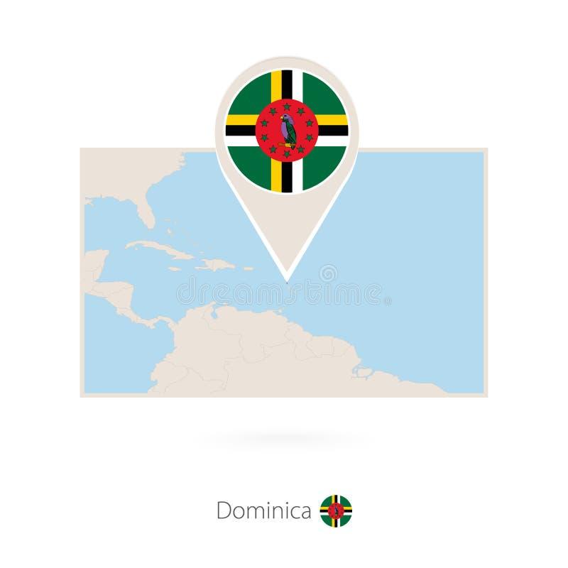 多米尼加的长方形地图有多米尼加的别针象的 皇族释放例证