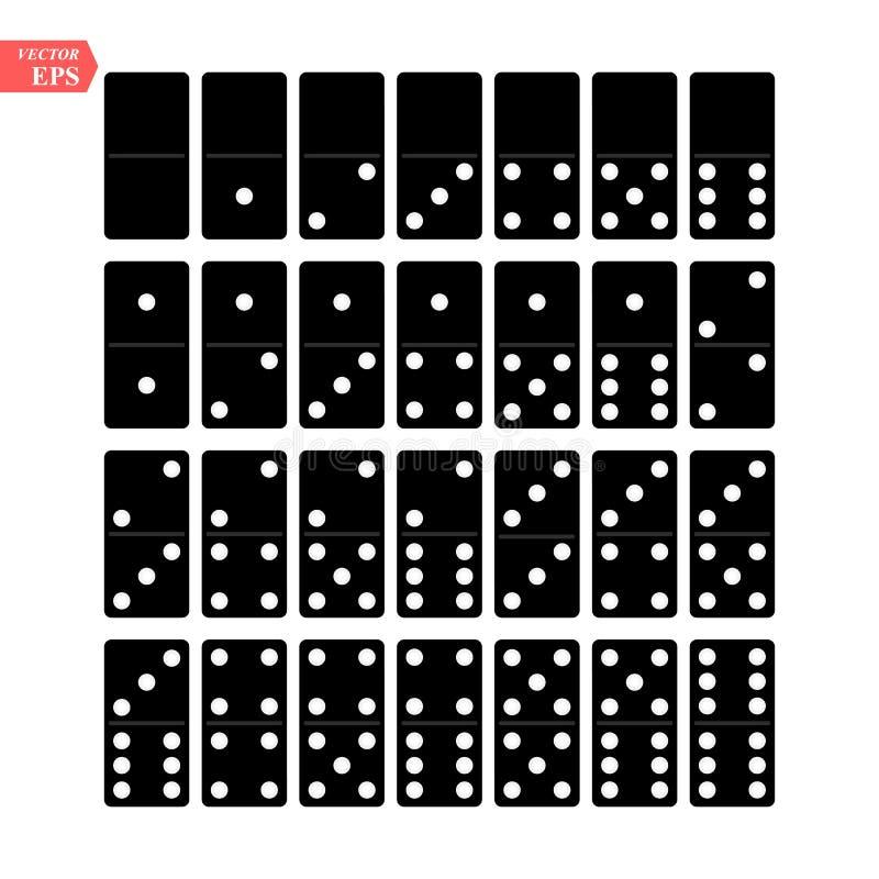 多米诺全套传染媒介现实例证 黑色颜色 在白色隔绝的经典比赛多米诺骨头 顶视图 为 向量例证