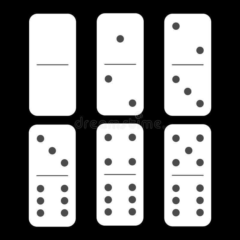 多米诺白色 零个和六个片断 库存例证