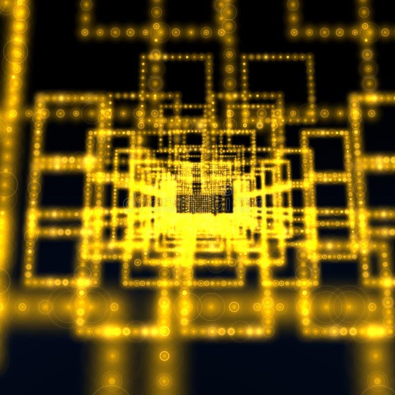 多维数据集矩阵黄色 库存例证