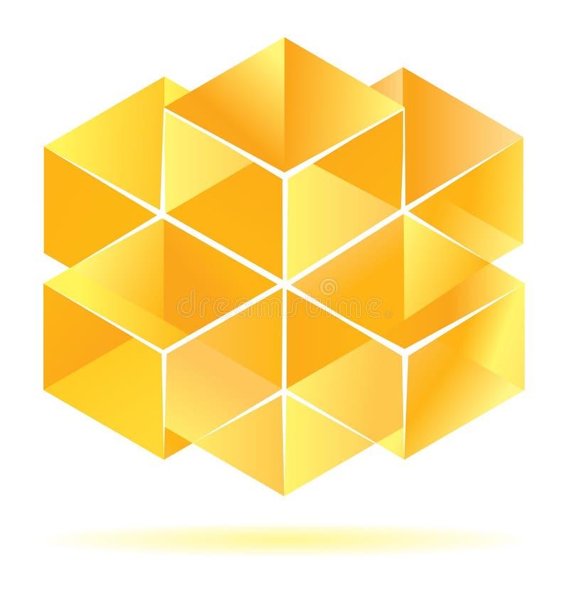 多维数据集设计黄色 库存例证