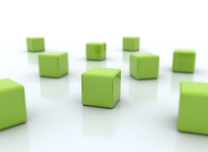 多维数据集集中绿色组织 向量例证