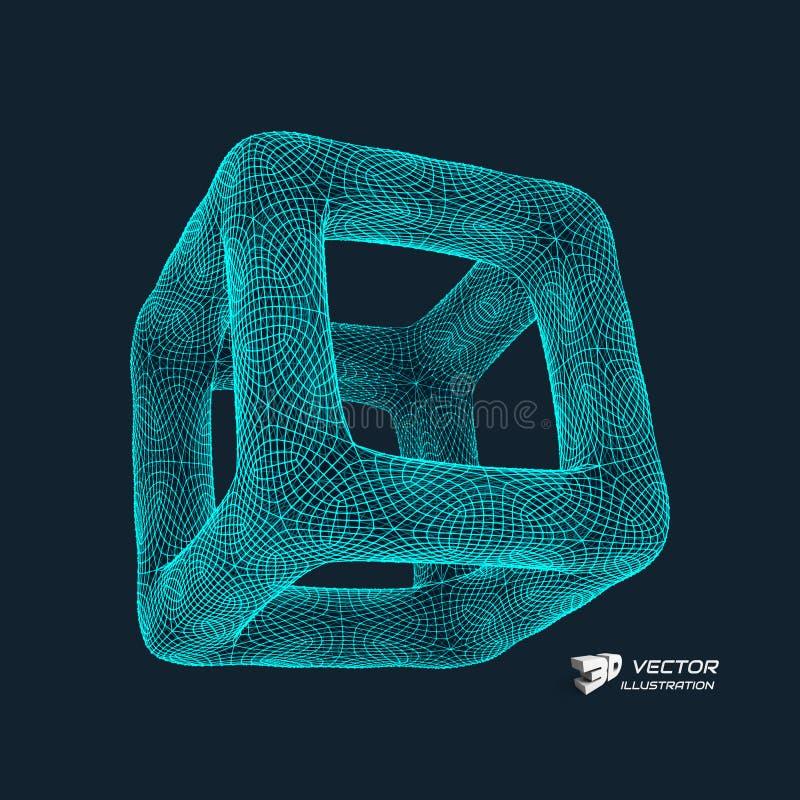 多维数据集 连接结构 3D栅格设计 技术样式 皇族释放例证