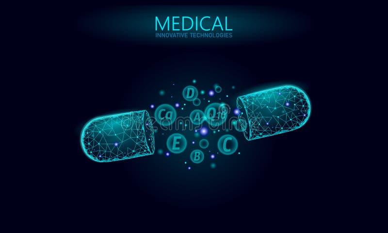 多维生素复杂低多胶囊 健康补充皮肤护理建身的防皱药房横幅模板 3d 库存例证