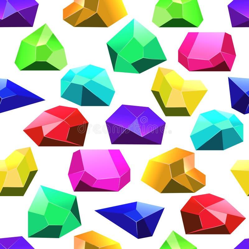 多色传染媒介水晶无缝的样式 皇族释放例证
