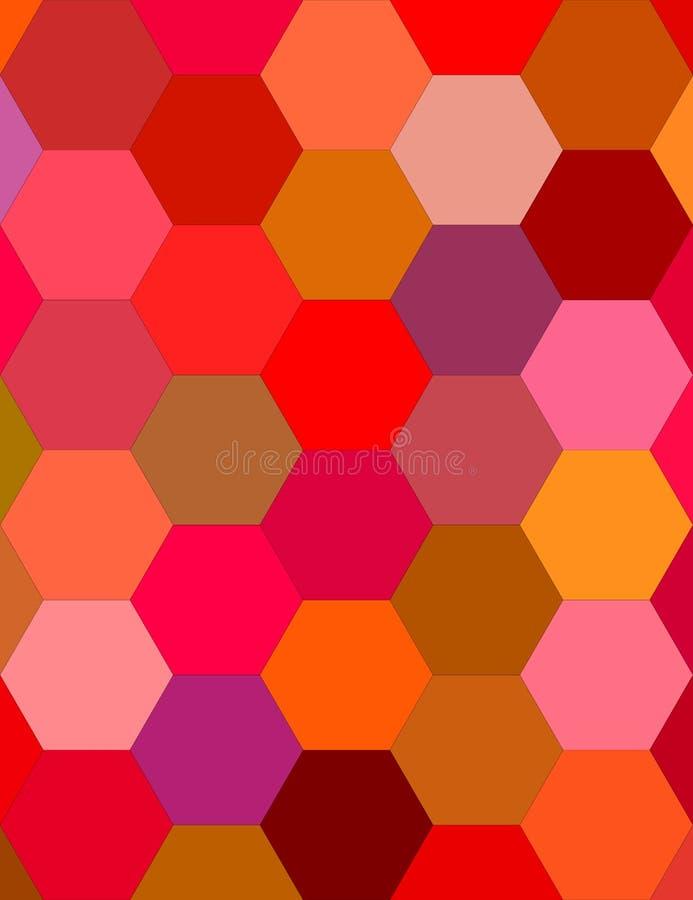 多色六角形马赛克背景设计 库存例证
