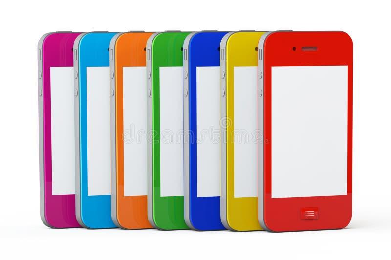 多色塑料盒手机 库存例证