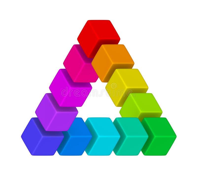 多色扭转的三角 向量例证