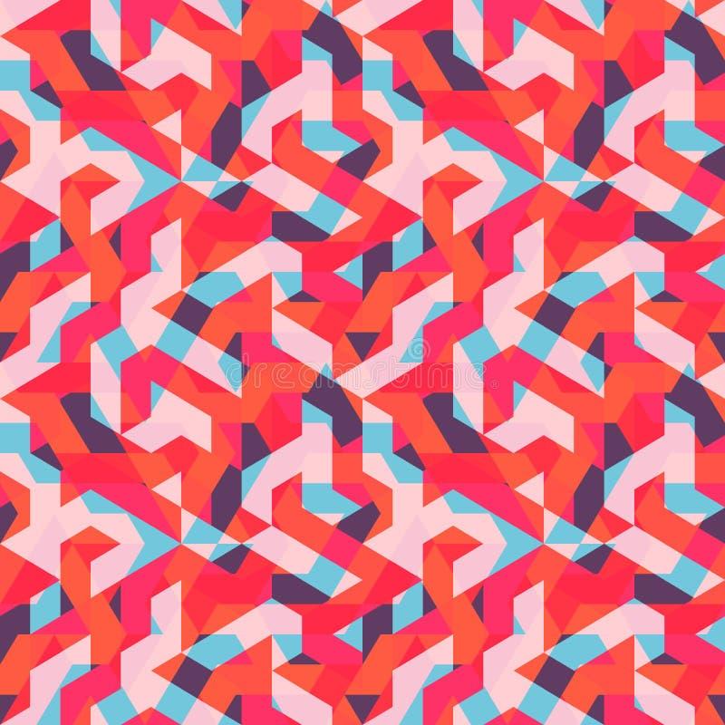 多色抽象孟菲斯无缝的样式 现代几何在行家样式 库存例证