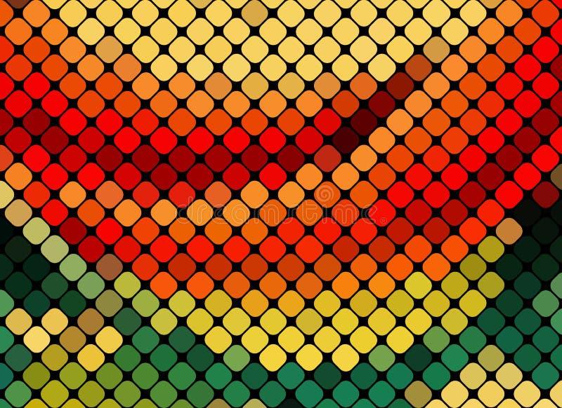 多色抽象轻的迪斯科背景正方形映象点马赛克v 向量例证