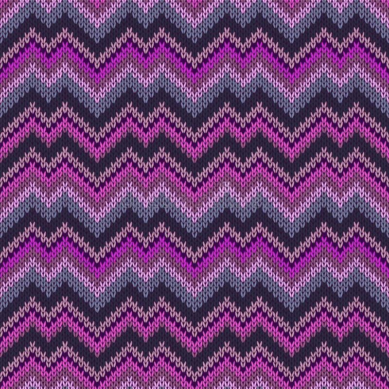 多色无缝的编织样式曲折前行生动的现代刺绣 向量例证