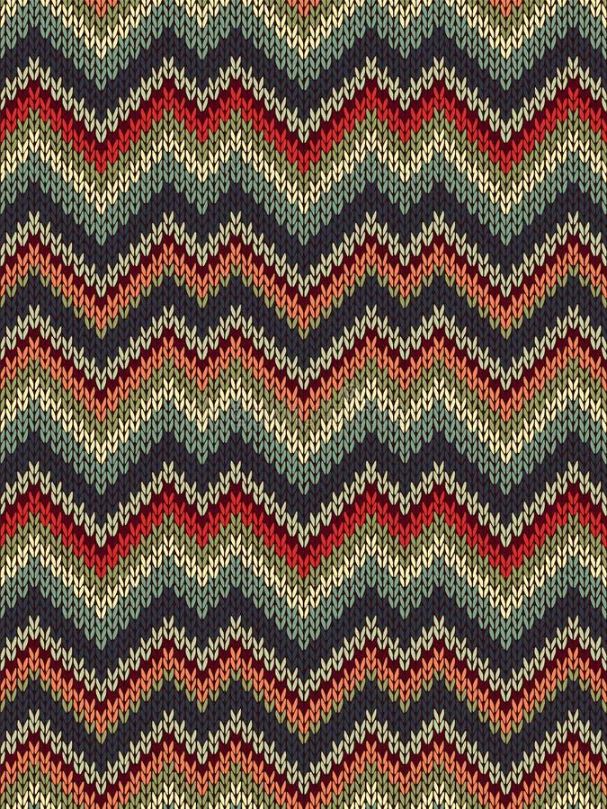 多色无缝的编织样式 之字形刺绣纹理 向量例证
