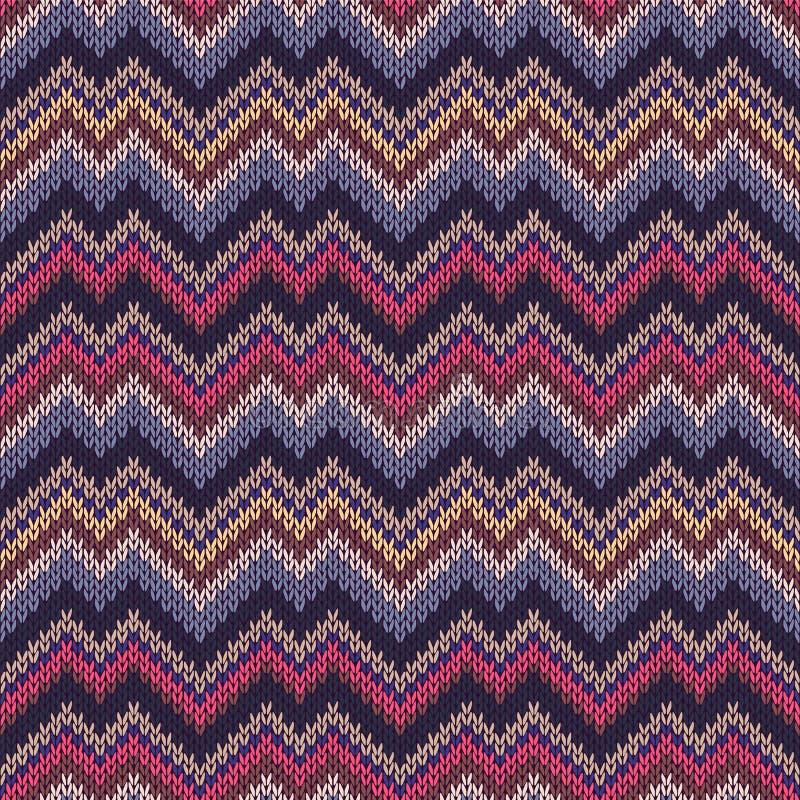 多色无缝的编织样式 之字形颜色刺绣 向量例证