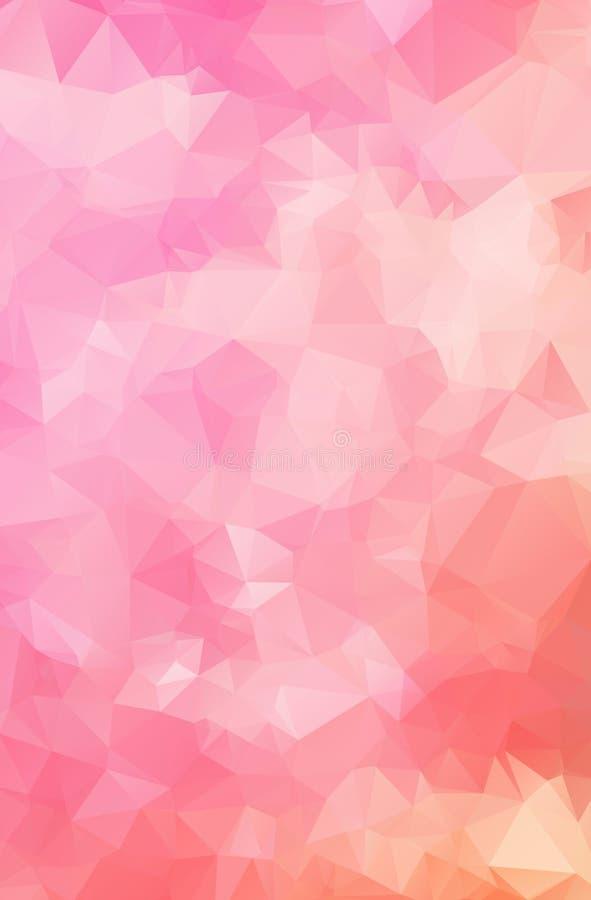 多色桃红色,白色几何弄皱的三角低多样式梯度例证图表背景 传染媒介多角形desi 库存例证