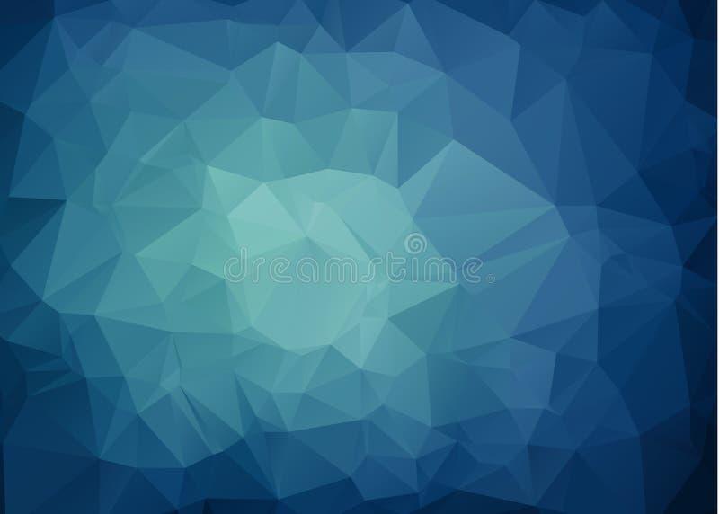 多色深蓝几何弄皱的三角低多样式梯度例证图表背景 传染媒介多角形设计 向量例证