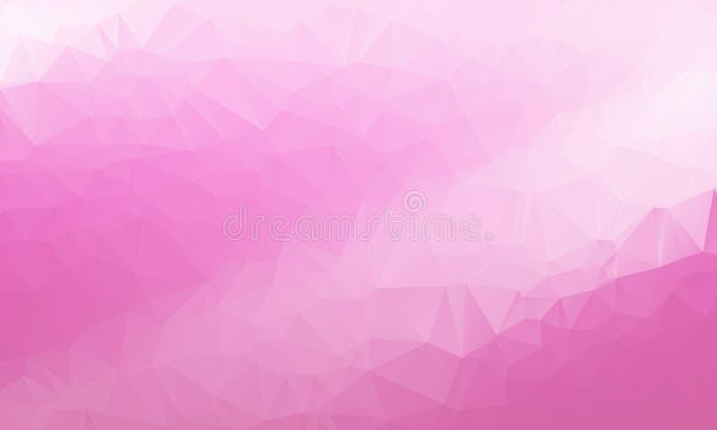 多色紫色,桃红色几何弄皱的三角低多样式梯度例证图表背景 向量例证