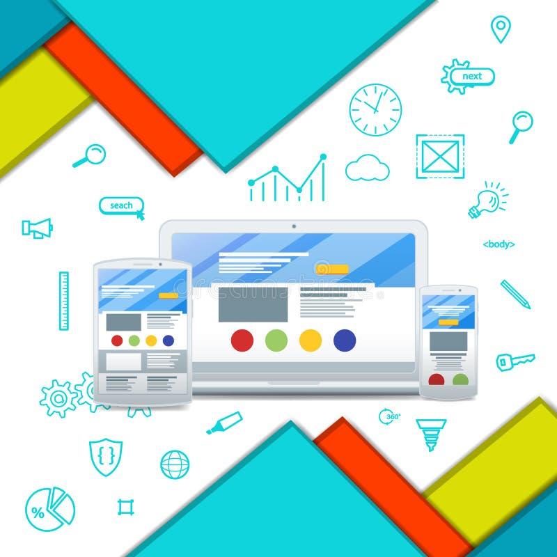 多色背景异常的现代物质设计 网络设计 库存例证