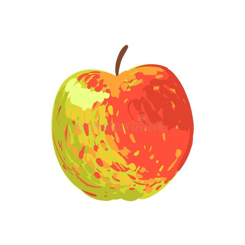 多色苹果计算机质朴的手拉的新鲜水果动画片例证 库存例证
