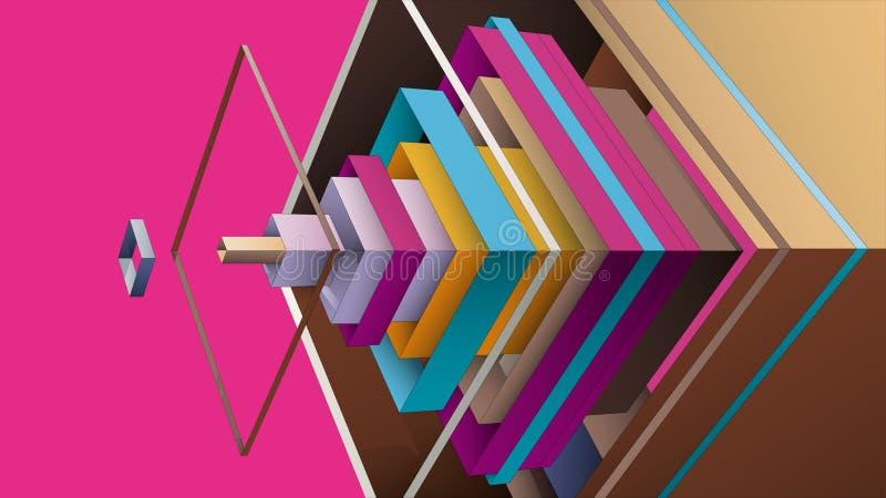 从多色菱形的抽象构成图形设计的 向量例证