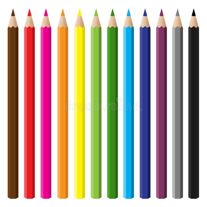 多色铅笔集 向量例证