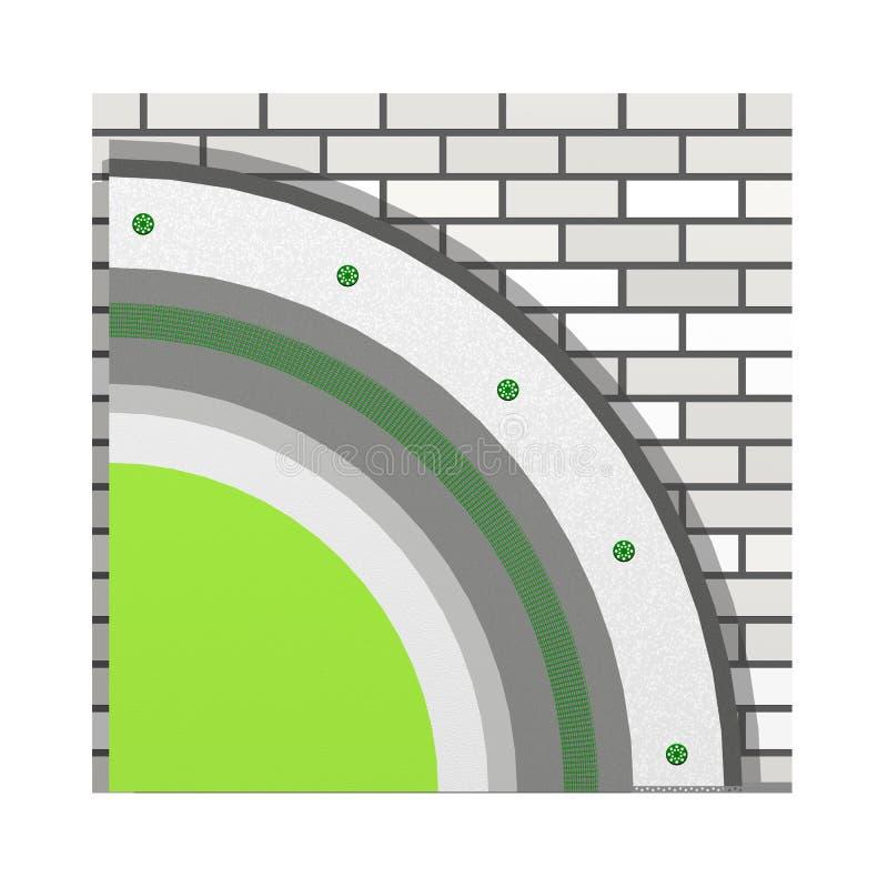 多苯乙烯墙壁绝缘材料3d计划 皇族释放例证