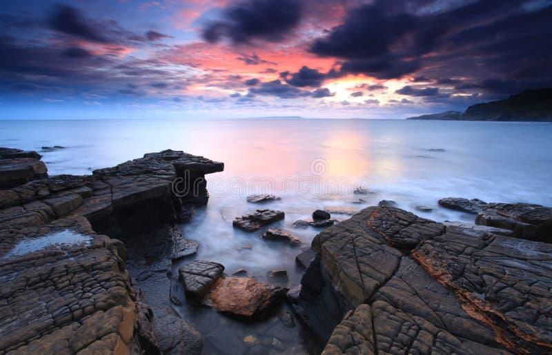 多西特Kimmeridge海湾 库存照片