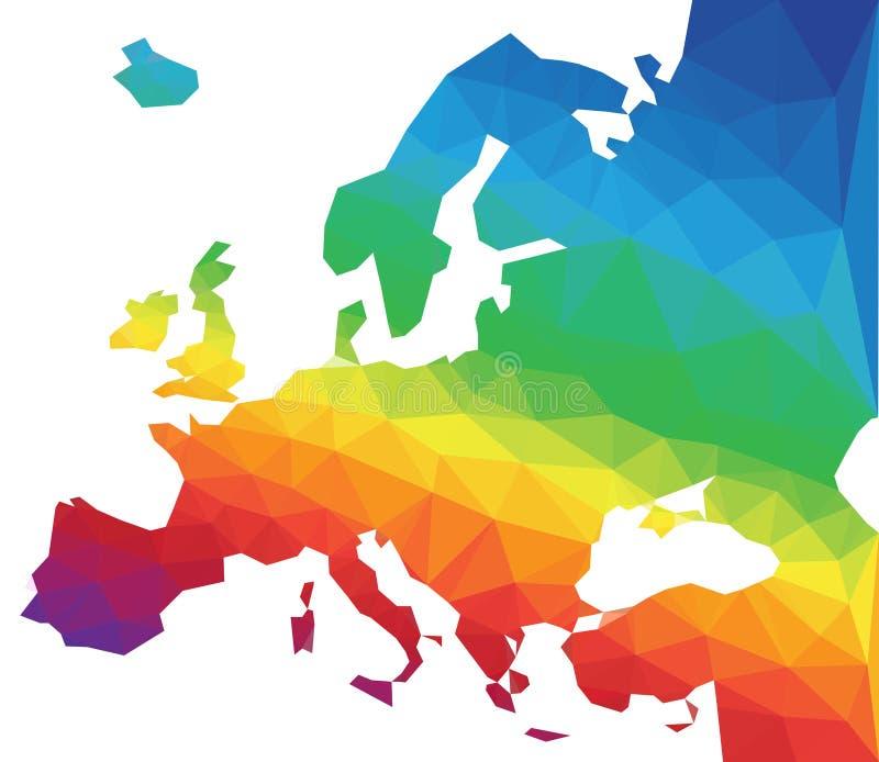 多角形传染媒介欧洲地图 向量例证