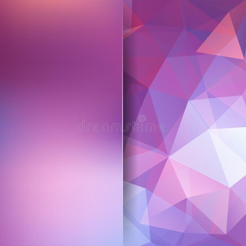 多角形传染媒介背景 桃红色,白色,紫色颜色 库存例证