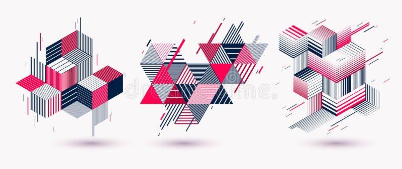 多角形低多传染媒介摘要设计集合、艺术性的减速火箭的样式背景广告或印刷品的,盖子或者海报,横幅或 皇族释放例证