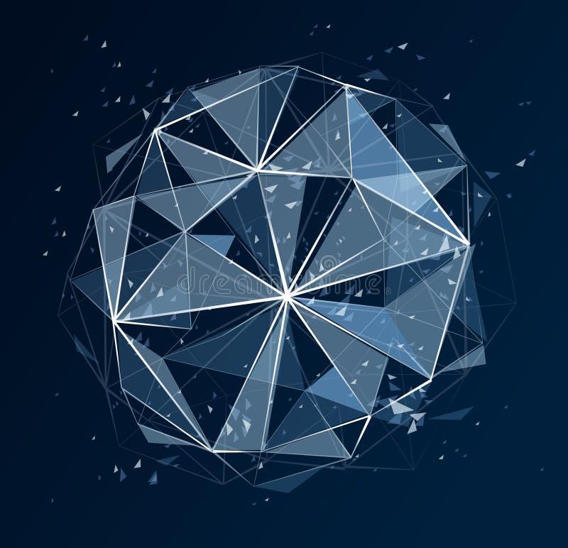 多角形元素导航抽象背景,低多3D对象,在透视分数维设计元素,滤网的被连接的线 向量例证