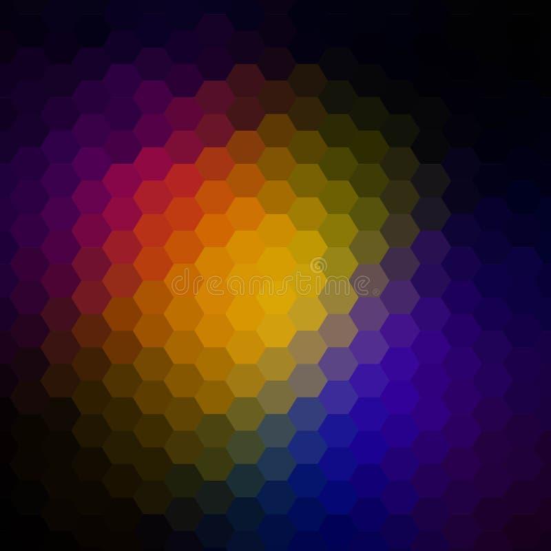 多角形六角形的梯度样式 r 设计的五颜六色的马赛克背景 红色背景树荫  向量例证