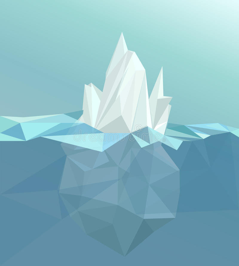 多角形冰山,冰川风景 向量例证