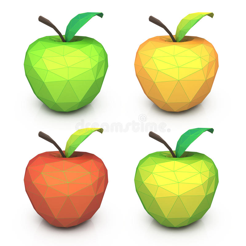 多角形几何多彩多姿的苹果 果子集合低多tria 向量例证