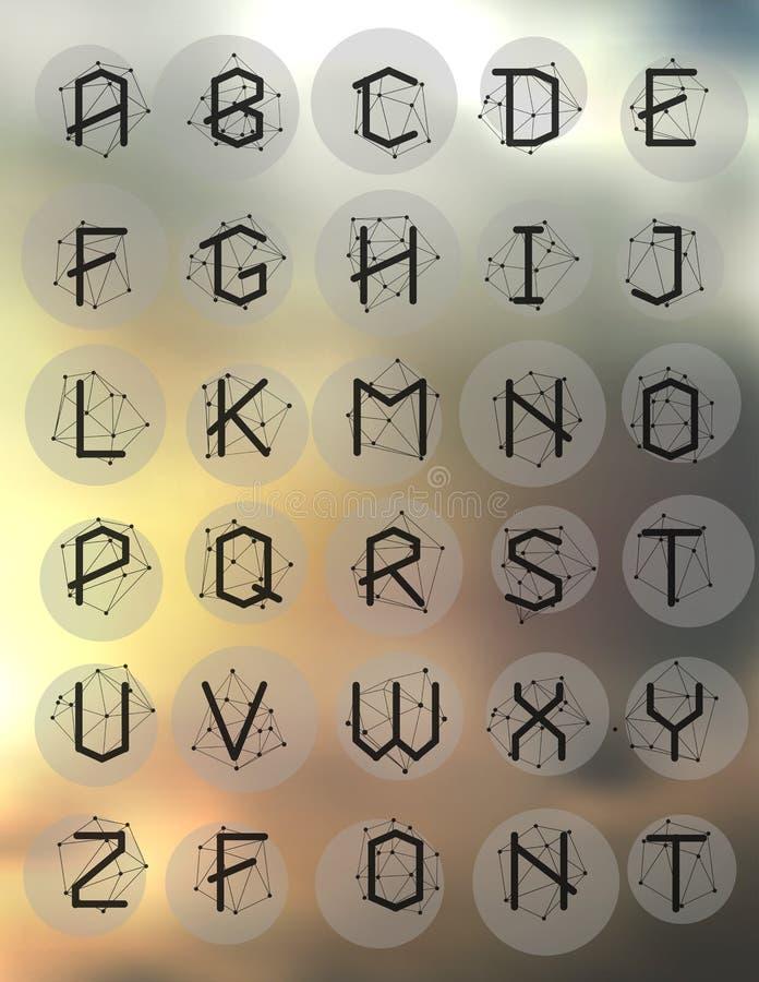 多角形几何字体 向量例证