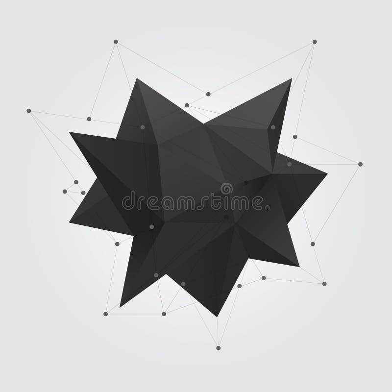 黑多角形几何抽象形状形象 低多抽象几何形状3d星 皇族释放例证