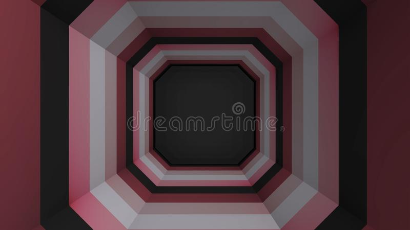 多角形几何纸隧道 八角形物纸隧道的动画 向量例证